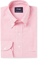 Drakes Drake's Red Slim-Fit Button-Down Collar Cotton Oxford Shirt