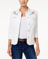 Charter Club Embroidered Denim Jacket, Only at Macy's