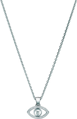 Chopard 18k White Gold Diamond Evil Eye Pendant Necklace