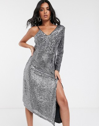 UNIQUE21 asymmetric premium sequin one shoulder dress