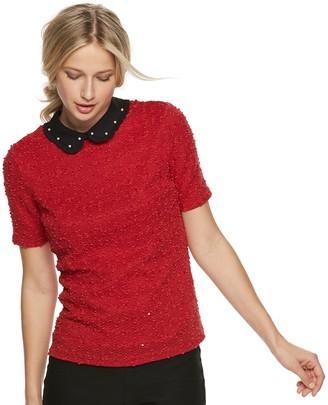 Elle Women's Collared Short Sleeve Top