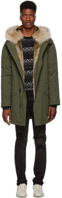 Yves Salomon Green Fur-Lined Parka