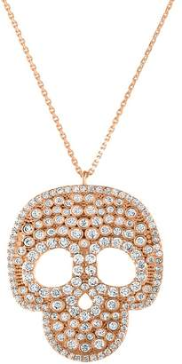 Sphera Milano 14K Rose Gold Plated Sterling Silver Pave CZ Chunky Skull Pendant Necklace