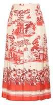 Gucci Porcelain Garden printed silk skirt