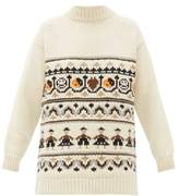 Ganni High-neck Wool-blend Jacquard-knit Sweater - Womens - Ivory Multi