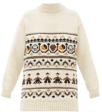 Ganni High-neck Wool-blend Jacquard-knit Sweater - Womens - Ivory Multi