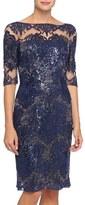 Tahari Sequin Lace Sheath Dress (Regular & Petite)