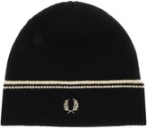 Fred Perry Twin Tipped Lambswool Beanie Hat Black