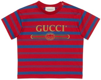 Gucci Baby striped T-shirt with logo