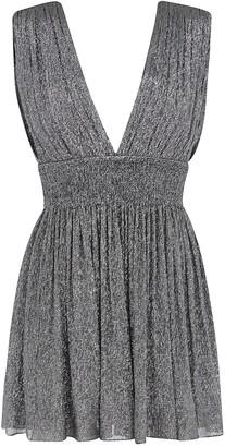 Saint Laurent V-neck Glittery Sleeveless Dress
