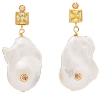 Anni Lu 18K gold-plated gemstone and pearl drop earrings