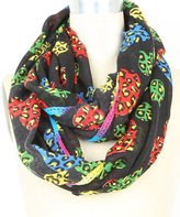 Betsey Johnson Black & Rainbow Leopard Hearts Infinity Scarf