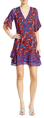 Tanya Taylor Kayla Mixed Print Ruffled Mini Dress