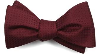 Tie Bar Check Mates Burgundy Bow Tie