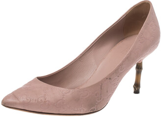 Gucci Nude Pink Guccissima Leather Kristen Bamboo Heel Pumps Size 39