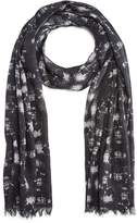 John Varvatos Abstract Skull Print Scarf