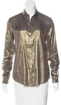 Elizabeth and James Metallic Button-Up Top