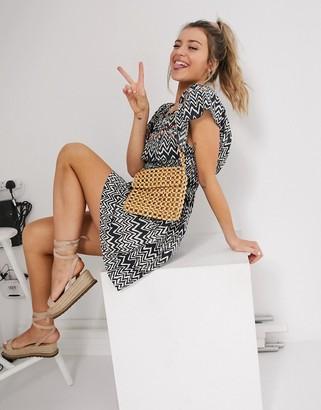 En Creme printed bardot mini dress