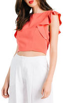 KENDALL + KYLIE Flutter-Sleeve Crop Top