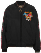 Roberto Cavalli Embellished Embroidered Silk Bomber Jacket - Black