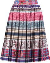 Stella Jean Pleated printed cotton midi skirt