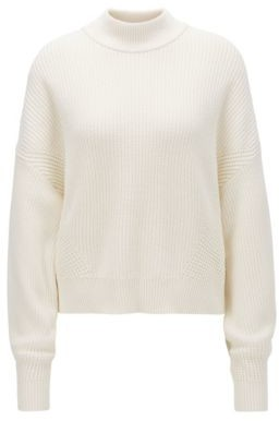 BOSS Relaxed-fit cropped sweater in a ribbed knit