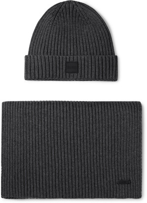 HUGO BOSS Ribbed Cotton And Wool-blend Beanie And Scarf Set - Gray