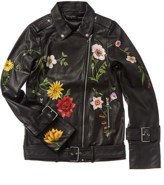 Oscar de la Renta Painted Floral Leather Moto Jacket