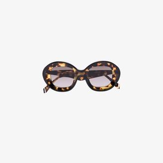 KALEOS brown Arcos tortoiseshell oversized round sunglasses