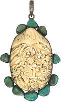 One Kings Lane Vintage Large Carved Bone & Turquoise Pendant