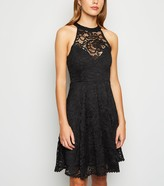 New Look Lace High Neck Bustier Skater Dress