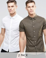 Asos Skinny Shirt In White And Khaki With Short Sleeves 2 Pack