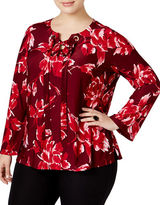 I.N.C International Concepts Plus Lace-Up Bell-Sleeve Printed Blouse