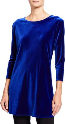 Caroline Rose Stretch Velvet 3/4-Sleeve Flare Tunic