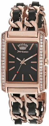 Juicy Couture Black Label Women's Swarovski Crystal Accented Rose Gold-Tone and Black Leather Chain Bracelet Watch JC/1196BKRG