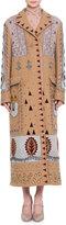 Valentino Embellished Long Wool Coat, Multi