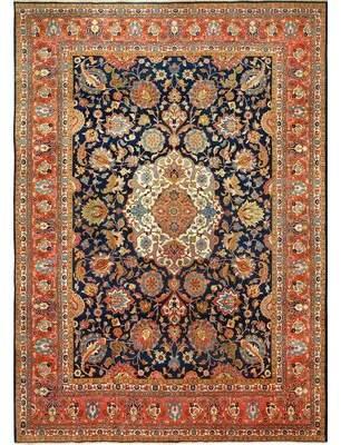Nazmiyal Collection Tabriz Persian Wool Antique Navy Blue/Brown Area Rug Nazmiyal Collection