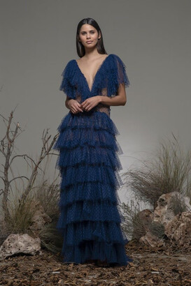 Isabel Sanchis Bellona Short Sleeve Tiered Gown