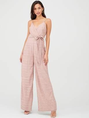 Forever Unique U Collection Tie Waist Cami Jumpsuit - Pink