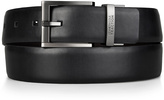 Kenneth Cole Reaction Black & Brown Feathered-Edge Square-Tip Reversible Leather Belt