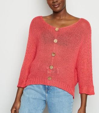 New Look Carpe Diem Knit Button Front Top