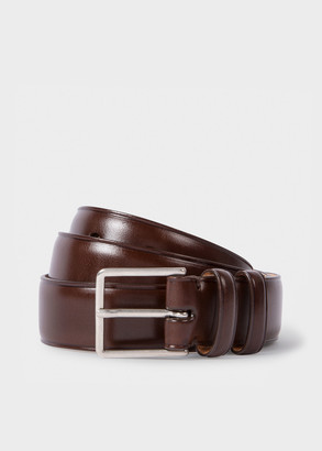 Paul Smith Men's Chocolate Brown Leather Double Keeper Classic Suit Belt
