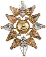 Trina Turk Gold-Tone Metallic and Crystal Stylized Flower Pin