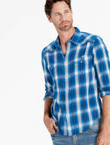 Lucky Brand Blue Dobby Western Long Sleeve Shirt
