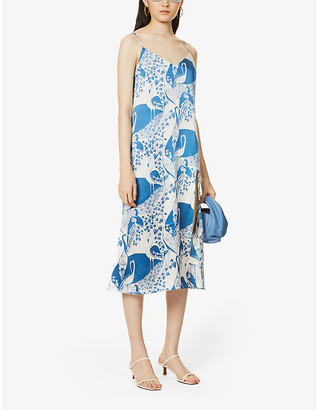 Reformation Britten graphic-print silk midi dress