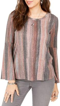 Style&Co. Style & Co. Striped Bell-Sleeve Top