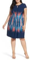 Tahari Plus Size Women's Flame Print Jersey Sheath Dress