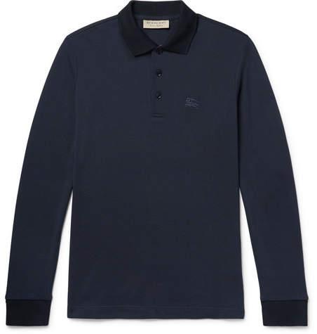 Burberry Embroidered Cotton-Pique Polo Shirt - Navy