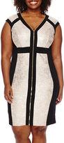 Melrose Cap-Sleeve Zip-Front Sheath Dress - Plus