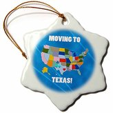 3dRose United States Map, Moving to Texas with a Heart and Car with Luggage - Snowflake Ornament, Porcelain, 3-inch (orn_218260_1)